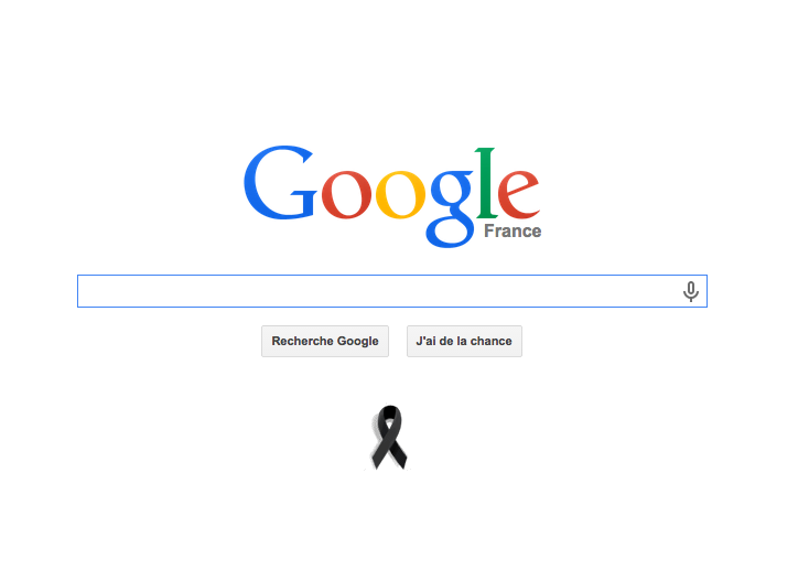 Sur Google.fr, un ruban noir. #CharlieHebdo http://t.co/Sfxhznepee