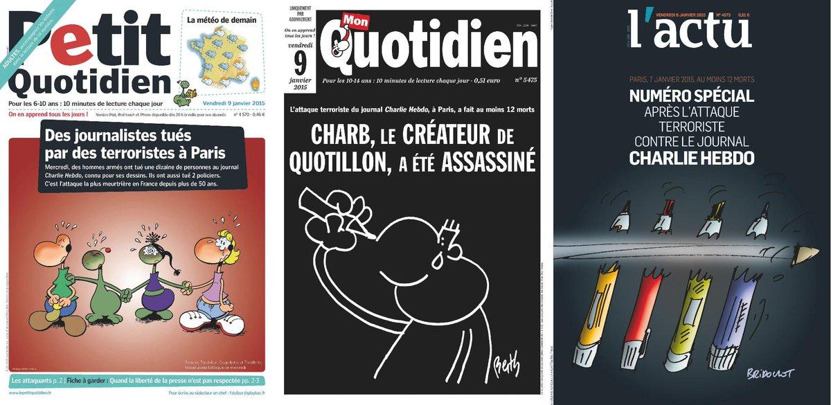 Les Unes de nos 3 quotidiens bouclés ce soir, dédiés notamment à notre ami et collègue Charb. #LibertéDeLaPresse http://t.co/mzwffmEF4E