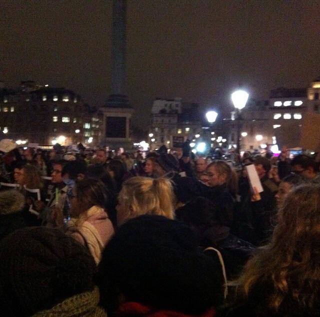 This. Now. Solidarité. #TrafalgarSquare #JeSuisCharlie #CharlieHebdo http://t.co/mS9BBI0aqy
