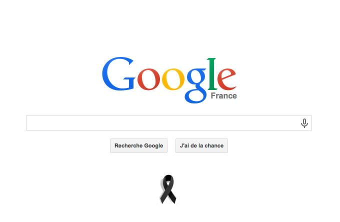 Ruban noir sur google.fr #JeSuisCharlie http://t.co/raxca756oW