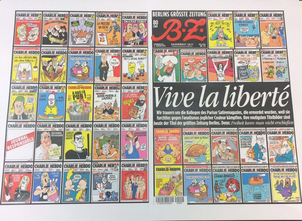 Brilliant & proper RT @raju: Berlin daily BZ honors #CharlieHebdo with this front page http://t.co/Or7XMWCfL3 via @PeterHuth