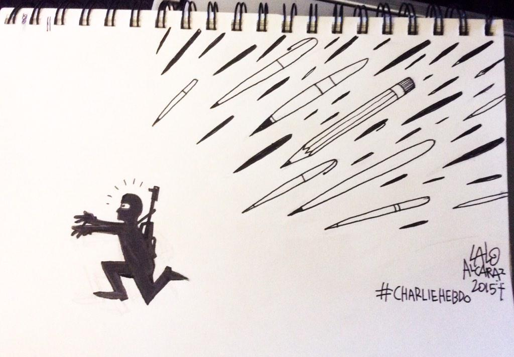 I just drew this on a plane to Houston, please share for #CharlieHebdo http://t.co/am5kRYvYZV
