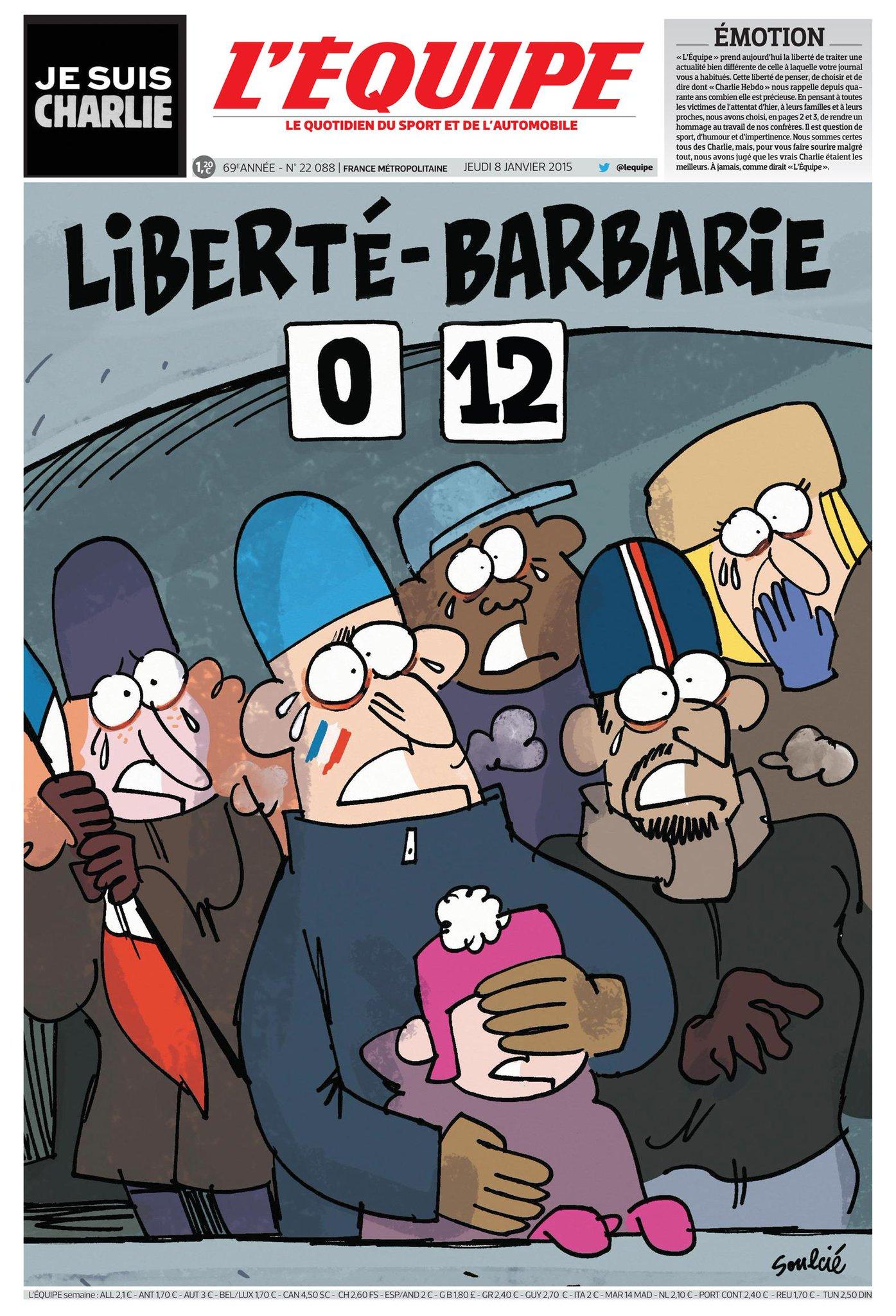 Notre Une du 8 janvier. Une double page rendra hommage au travail de nos confrères de Charlie Hebdo. #JeSuisCharlie http://t.co/z2uUxE4MFV