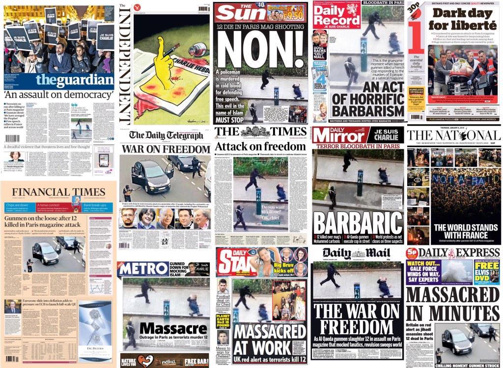 So not a single UK newspaper has dared show a single #CharlieHebdo cartoon on its front page #nousavonpeur http://t.co/VRNBIvRdik