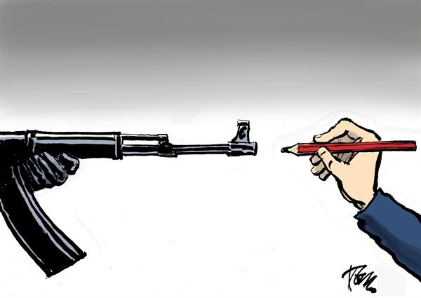 I think this Tom Janssen cartoon is nice #JeSuisCharlie #CharlieHebdo  See more: http://t.co/TB8UofGcaZ http://t.co/UpFRPsngVf