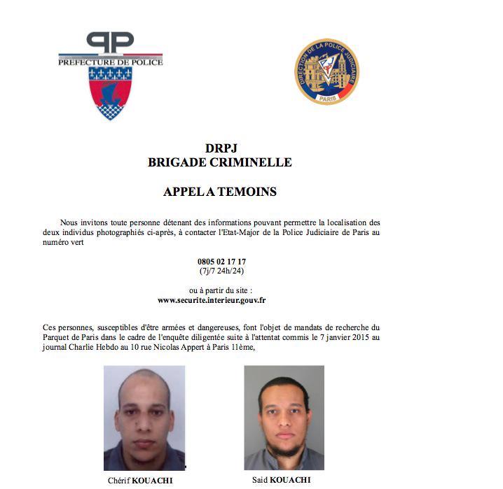 #CharlieHebdo > la police diffuse un appel à témoins avec les photos des deux frères recherchés http://t.co/hLiDfmR1nw