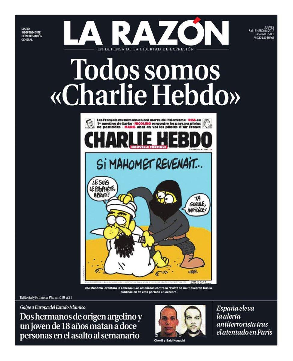 #EnPortada Todos somos #CharlieHebdo - http://t.co/gMiiSaXCUm #JeSuisCharlie http://t.co/P8gzkZeO59