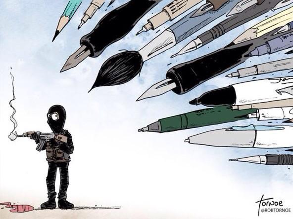 The world's cartoonists fought back as one after the #CharlieHebdo attack: http://t.co/2a107S68TO #JeSuisCharlie http://t.co/PPgoerJ9bI