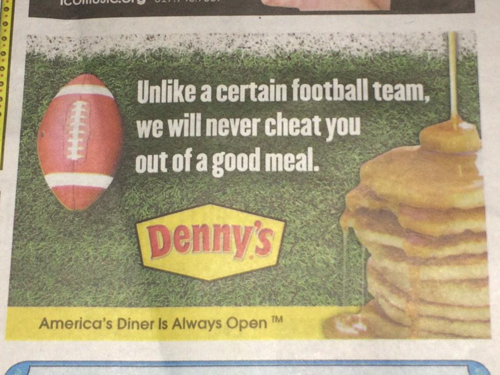 Denny's ad in an #Indy newspaper: #DeflateGate http://t.co/iDPIxmcwct