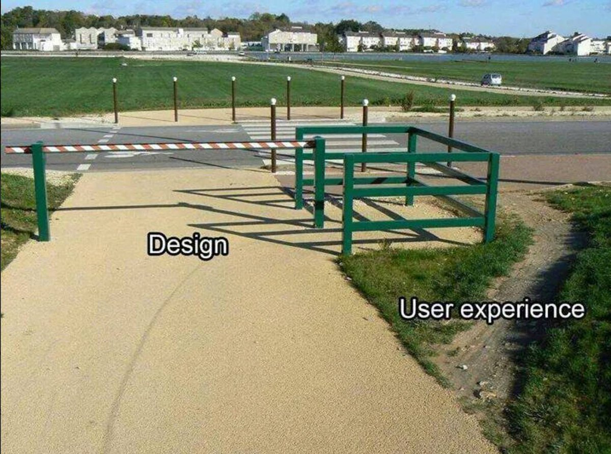 Design vs. User Experience in one photo http://t.co/6W8Y20KM2w