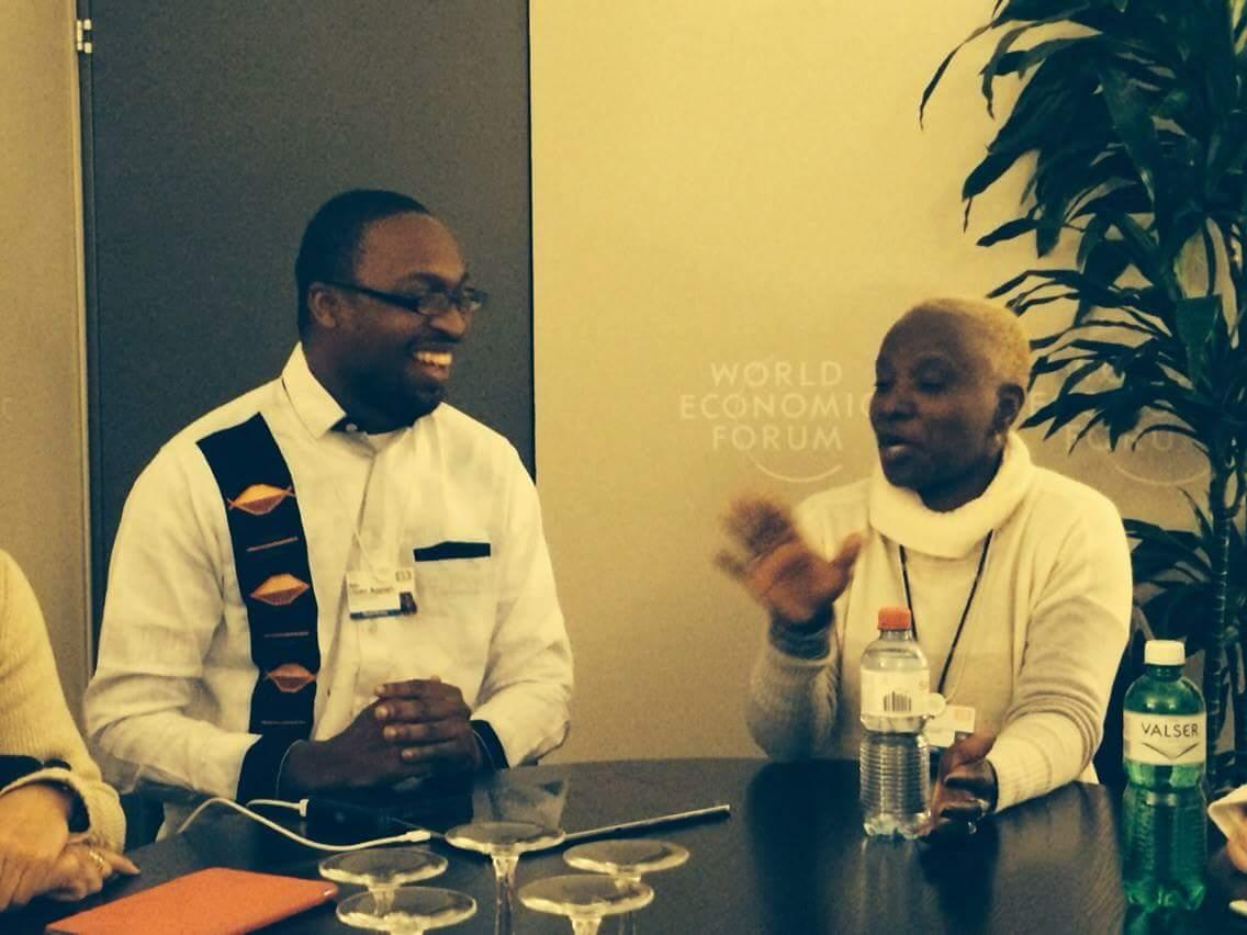 Love this photo of our founder Ato Ulzen Appiah with Angelique Kidjo as he moderated a discussion with her. #wef15 http://t.co/u0YLrC0Y9K