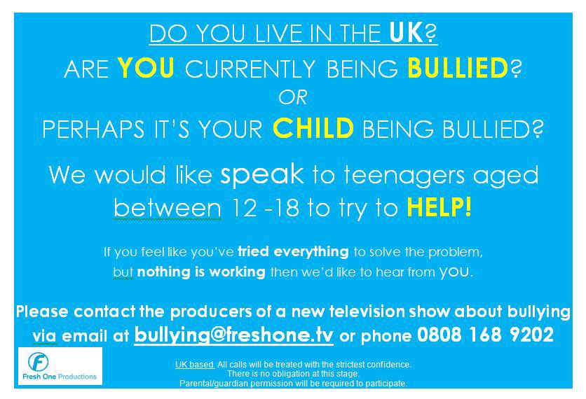 Hi guys... So I am working on a new TV show about bullying. We want to help 12 -18 yr olds. Needs parents consent! http://t.co/bWOyQZq6lI