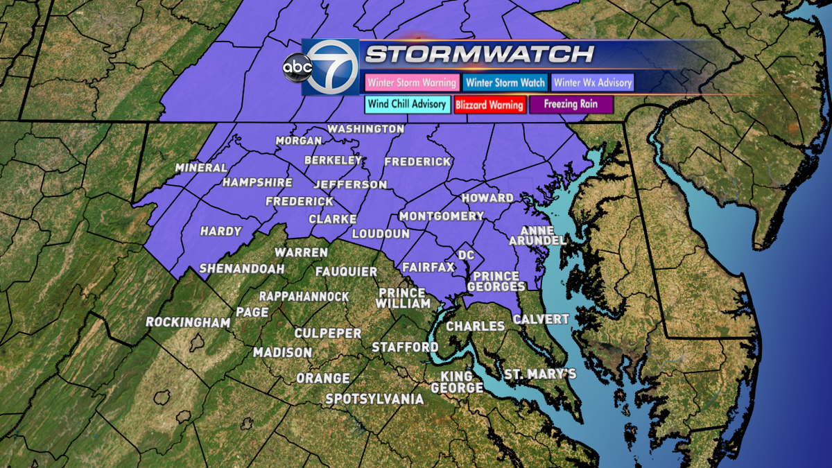 Lauryn Ricketts (@laurynricketts): Winter weather advisory from 6am - 6pm @abc7news @wtop http://t.co/acOmd13uEY