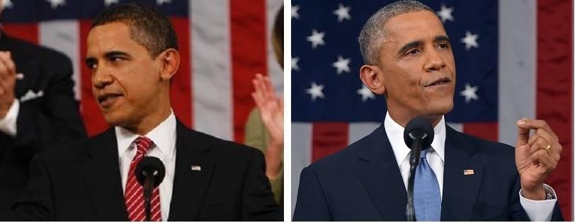 The aging of the President: 2009 vs. 2015 (HT @MAlexJohnson) #nbcpolitics #sotu http://t.co/KMkvzVF4De