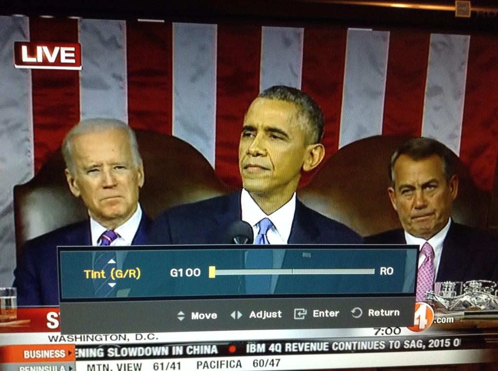Adjusted TV so @SpeakerBoehner no longer looks orange, but now everyone else is green. #SOTU http://t.co/63D5CCT4bq