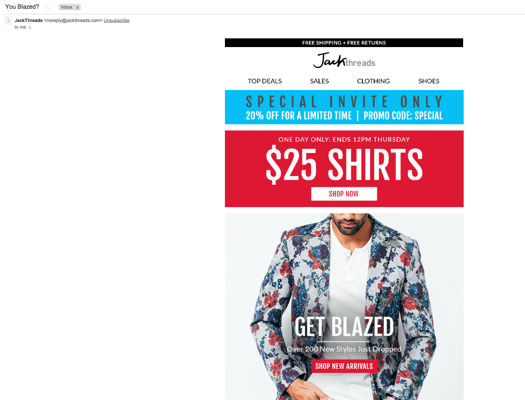 .@MollyTorrence someone @JackThreads is trying to jack our style with this email marketing. See subject line also! http://t.co/Y4nbkXvGl5