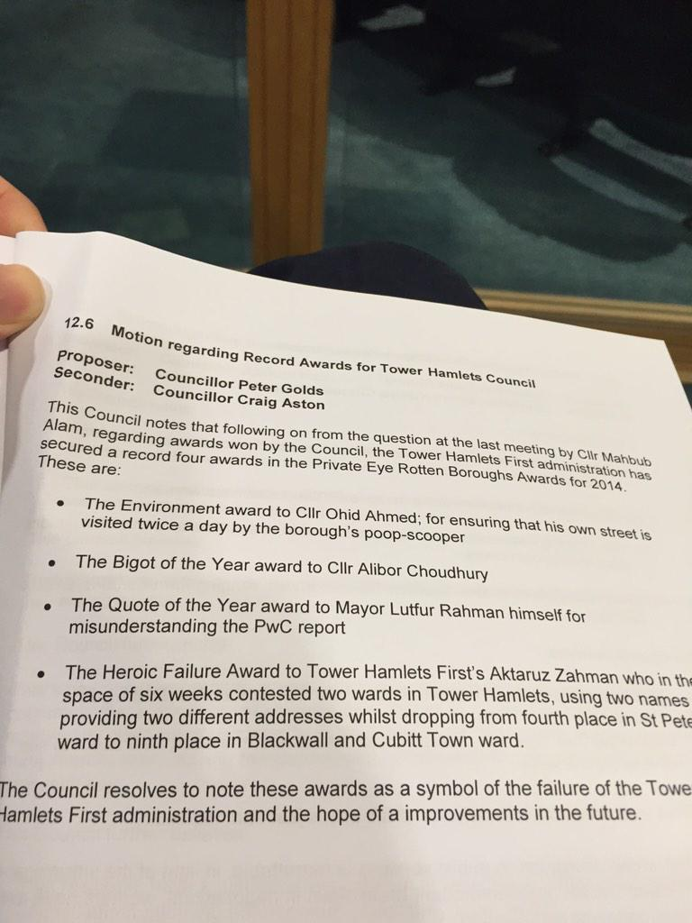 Council motion of the year, acclaiming Tower Hamlets' successes in the #RottenBoroughs awards (via @TedJeory) http://t.co/R6e6mmYKNm