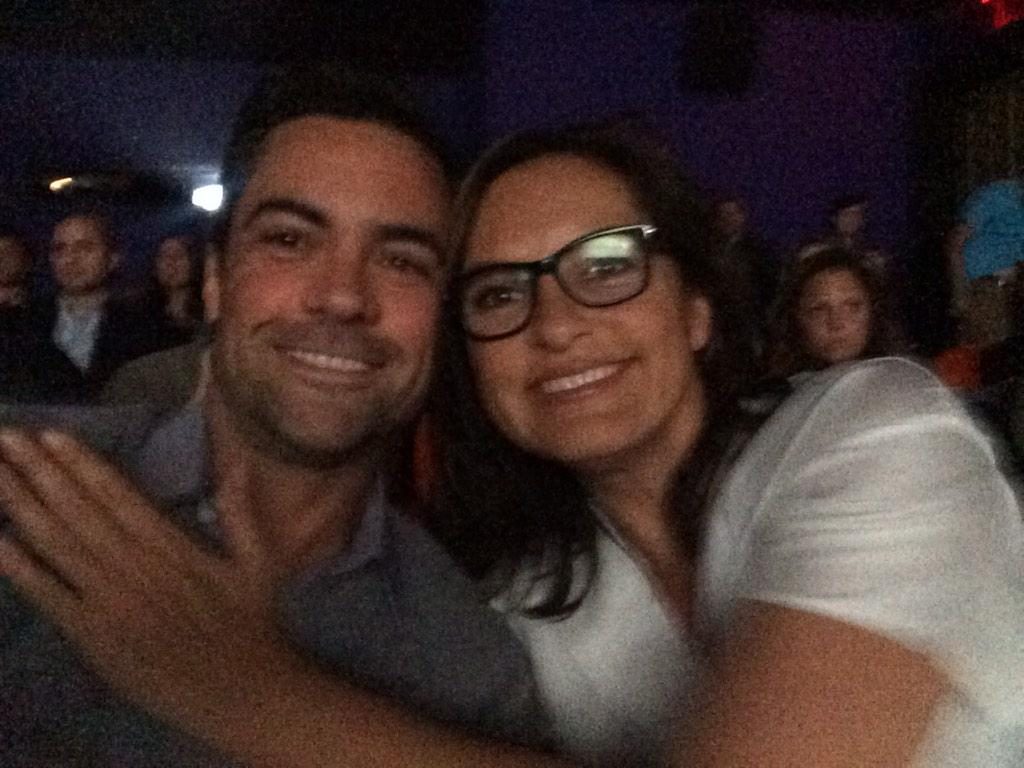 With the inspired director. #SVUFamilyFeud @Mariska http://t.co/HC3c1P8mJy