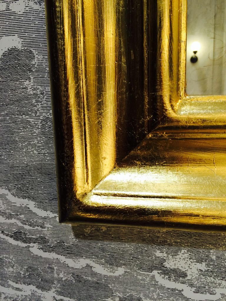 Nice contrast between gold-leaf @IKEACanada hack mirror & @Coleandson wallpaper @StyleAtHome kitchen @IDSToronto http://t.co/ELT7UJ4HFF