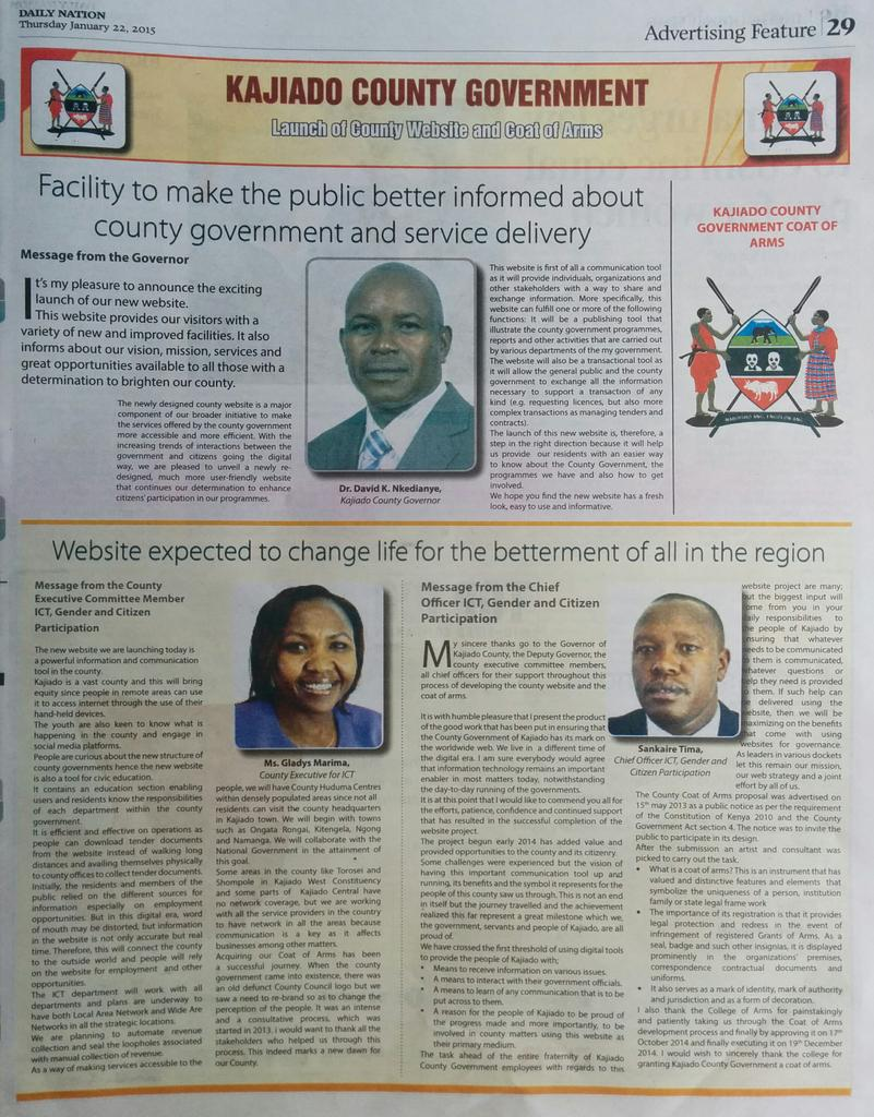 Kajiado County took a full page in the Daily Nation to launch their website but did not include the URL. #SMH #Fail http://t.co/pLkk22BK6N