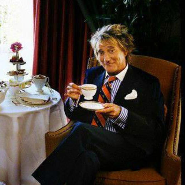 """All I wanted was a cup of tea.\"" - Rod Stewart. Happy 70th birthday!"