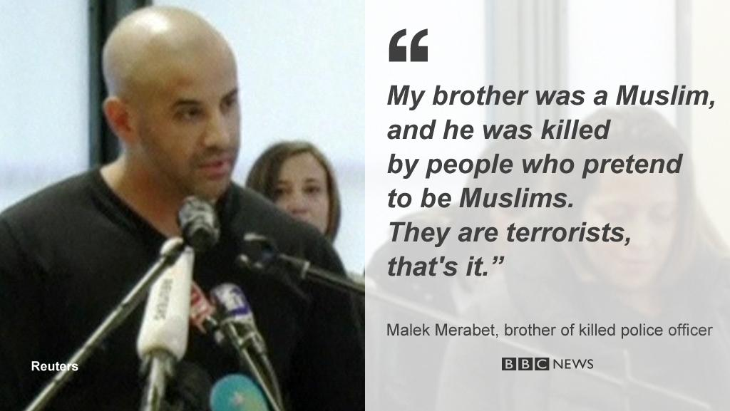 """""""My brother was a Muslim..killed by people who pretend to be Muslims"""" http://t.co/ymKukOq2XU #CharlieHebdo http://t.co/PIMFnTkuIO v @BBC"""