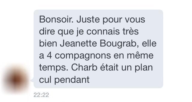 Alors que je la défendais une amie au gouvernement vient de m'envoyer ça à propos de #Bougrab  #off #CharlieHebdo http://t.co/tSPKUmB0gx