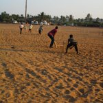 Cricket in the sand...can't take cricket out of a cricketer ;) #Goa http://t.co/2zHv4eN2B6