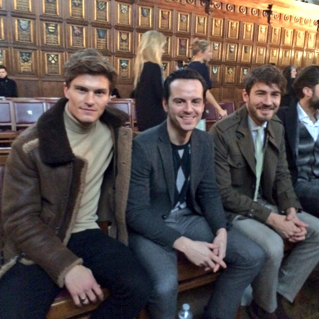 Front row dapper gents @Oliver_Cheshire #AndrewScott and @RobertKonjic @PringleScotland #LCM #AW15 #Frow http://t.co/YIcpUsdx3b