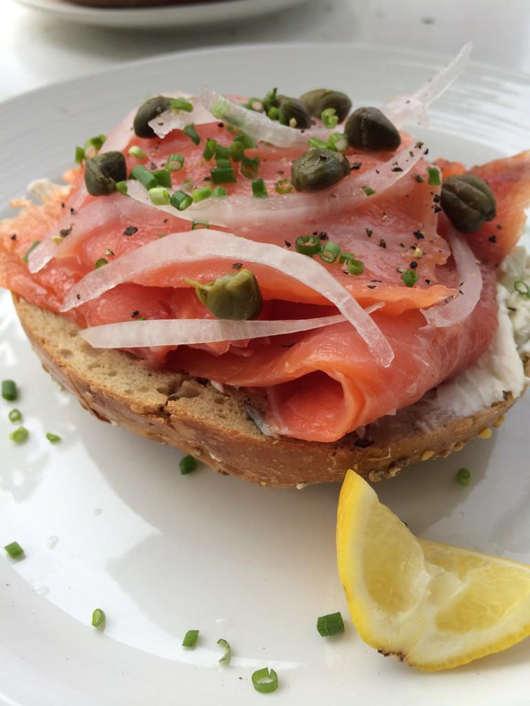 #CookingStreak Day 11 Smoked salmon, capers, onion, chives, cream cheese on a whole wheat bagel. http://t.co/2D1gnmrIwL