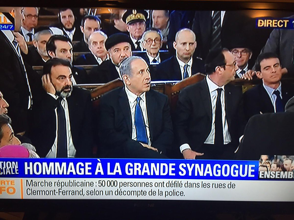Happening right now: French and Israeli leaders gather in solidarity with French Jewish community #JeSuisJuif #Paris http://t.co/4WNkcl7ai3