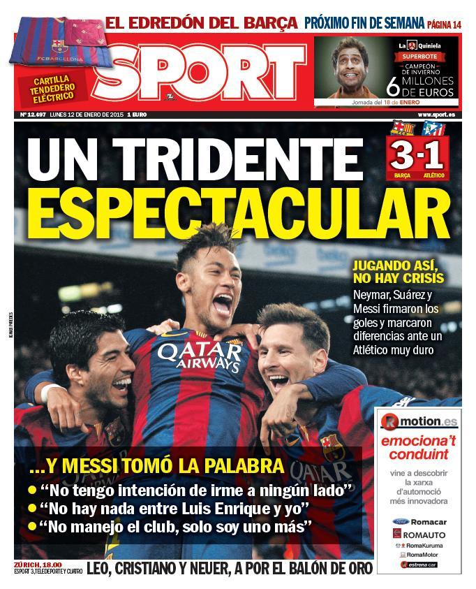 """Un tridente espectacular"". Esta es nuestra portada de este lunes #FCBlive http://t.co/tBG7Mvcl6L"