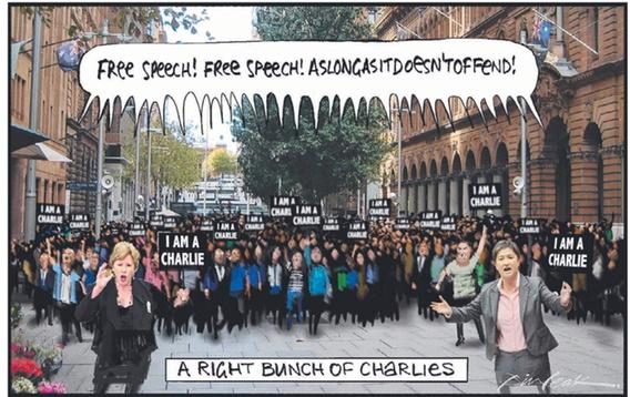 Another brilliant Bill Leak cartoon: a right bunch of Charlies. Free speech! As long as it doesn't offend. http://t.co/86AoGN4tLl