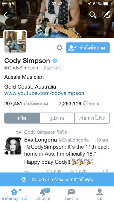 Happy Birthday  Cody Simpson 18 years old   thank follow me