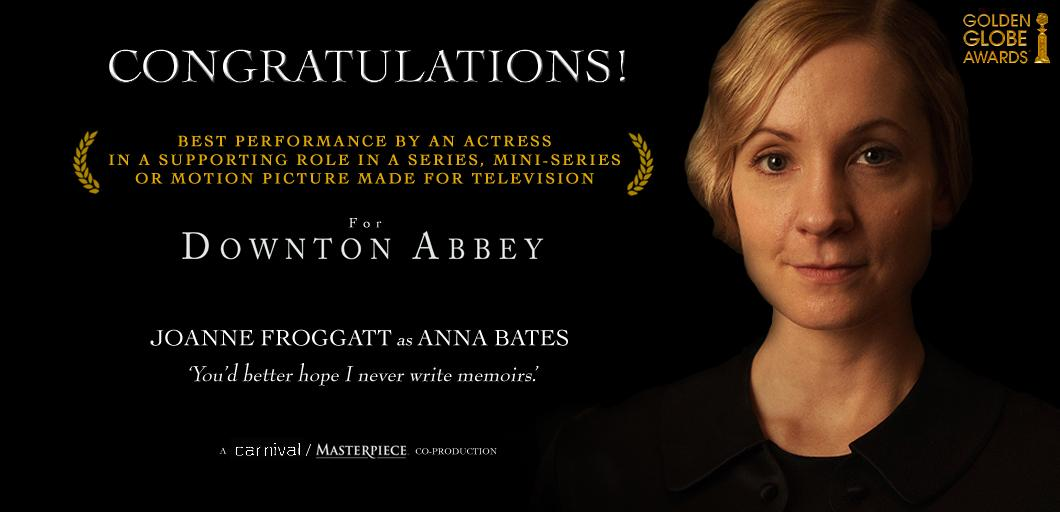 Our many congratulations to #Downton's @JoFroggatt, well deserved indeed! @GoldenGlobes #GoldenGlobes http://t.co/ZyCH1QDMDI