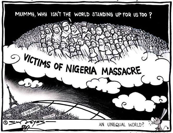 Heaven held a March too for the 2K Nigerians murdered by Boko Haram AFTER PARIS! http://t.co/RJL1TlgIoW