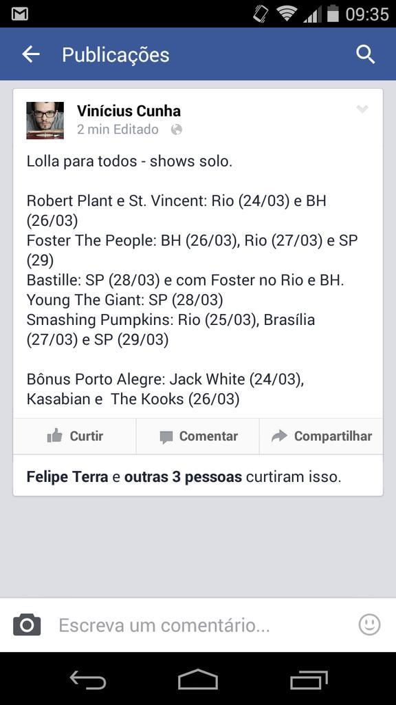 Side shows Lollapalooza 2015: Robert Plantas e St. Vincent (RJ e BH), Jack White em POA e mais, muito mais. http://t.co/ckcAMrGUkB
