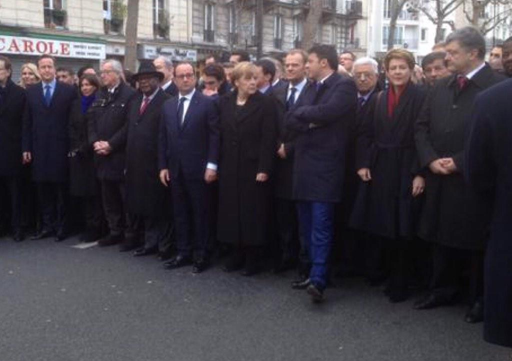 "Seems world leaders didn't ""lead"" #CharlieHebdo marchers in Paris but conducted photo op on empty, guarded street http://t.co/bhhXgAhqDR"