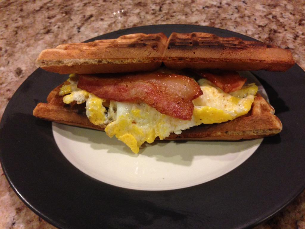 RT @MPHdawg: Bacon and egg protein waffle sandwich #CookingStreak http://t.co/pBAGE3jK0Z