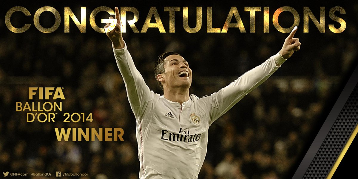FIFA BALLON D'OR: The winner is @Cristiano #BallondOr http://t.co/oG79I0PfFi http://t.co/p8Gcf5vwa9