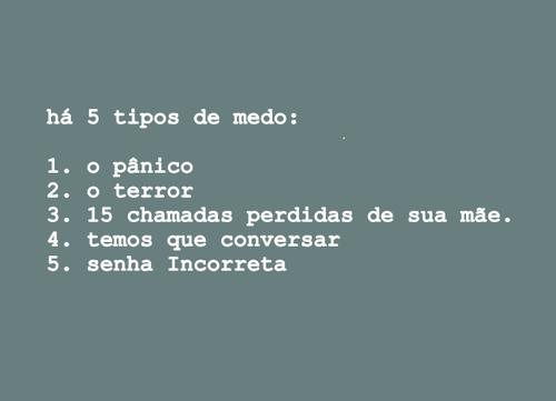 Os 5 tipos de #medo: http://t.co/SXtJLmjHJx