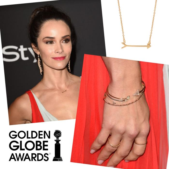 The fab @abigailspencer in our Straight as an Arrow Necklace + Initial Letter Bracelet at the #GoldenGlobeAwards! http://t.co/hsF93GLStC