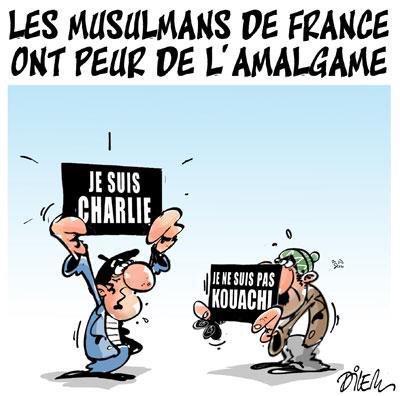 """""""Les musulmans de France ont peur de l'amalgame"""". J'aime ce dessin du caricaturiste Ali Dilem #JeSuisCharlie http://t.co/7xcRs4jDKY"""