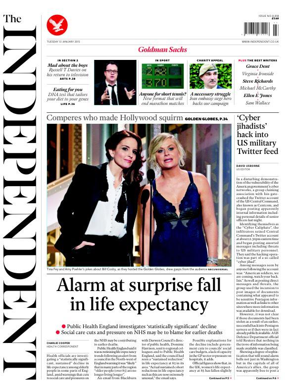 Tuesday's Independent front page: Alarm at surprise fall in life expectancy #tomorrowspaperstoday #bbcpapers http://t.co/RKJ3VJRL19