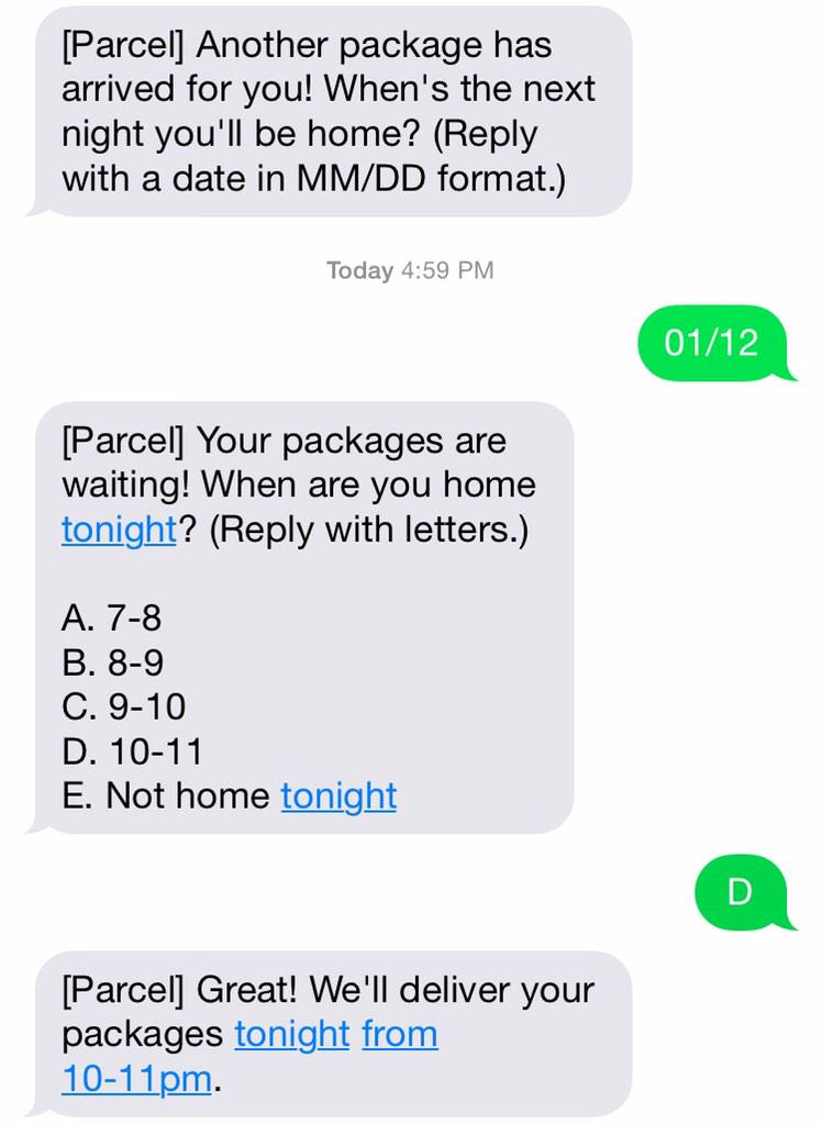 a fan of services with APIs small enough to fit in SMS, skipping the web vs. app debate entirely (here, @fromparcel). http://t.co/ZomWPLIg1U