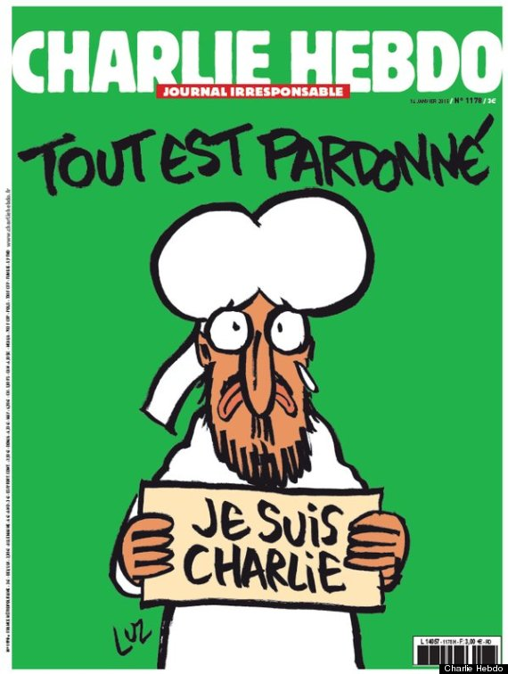 UK media doesn't have the balls to show this #CharlieHebdo cover in print or on TV. Where is the unity for freedom? http://t.co/lsCDj456Ah