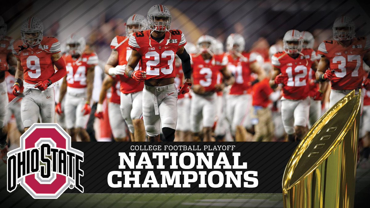 NATIONAL CHAMPIONS!!!  The Ohio State Buckeyes win the first College Football Playoff! #CFBPlayoff http://t.co/ujSvrr1WiV