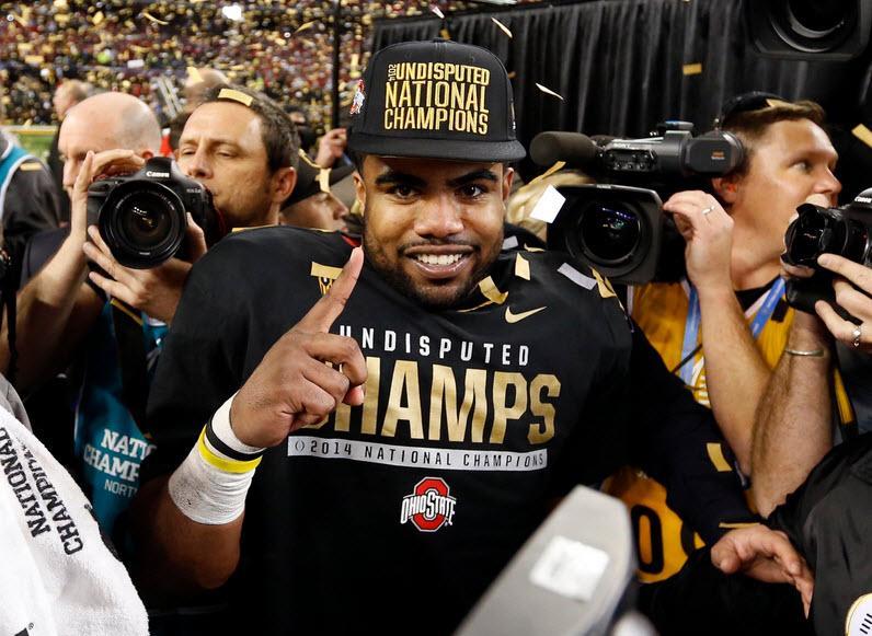 Ezekiel Elliott of @OhioStAthletics named offensive MVP of the #CFBPlayoff National Championship Game. #UOvsOSU http://t.co/51zatW7jrz