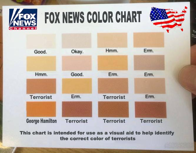 """@BigAlexJones: I've managed to get hold of the @FoxNews Terrorist Color Chart.  #foxnewsfacts http://t.co/OPs8y6SFM2"" George Hamilton"