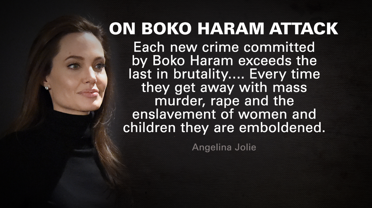 #AngelinaJolie calls on U.S. and others to assist Nigeria in wake of #BokoHaram attacks @CNN http://t.co/PVOmODy1RM http://t.co/lsBhyoYlmV